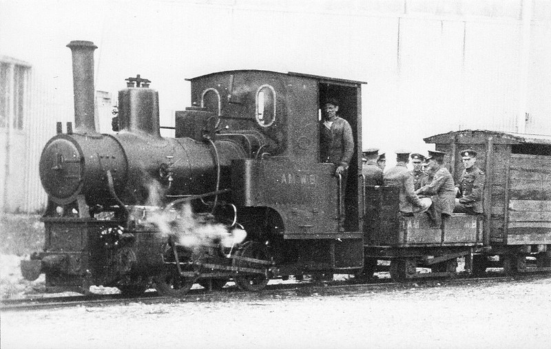 TALYLLYN RAILWAY - No.6 DOUGLAS - 686mm - 0-4-0T built 1918 by Andrew Barclay & Co. for the Airservice Construction Corps. - 1921 RAF Railway, Calshot Spit Flying Boat Base - 1945 stored - 1953 to Talyllyn - operational- seen here in RAF service.
