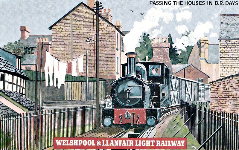 WELSHPOOL & LLANFAIR LIGHT RAILWAY No.6 - After British Railways took over the line in 1948, goods trains still passed between the houses of Welshpool's back streets. This particular section ran over the formation of a mineral line, The Stondart Quarry Tramway. Now the line terminates at Raven Square and the washing remains clean!