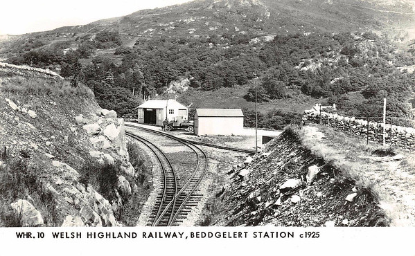 WELSH HIGHLAND RAILWAY - BEDDGELERT STATION - The rather basic station facilities at Beddgelert in 1926. The hut with the window on the left is the station building/refreshment room.