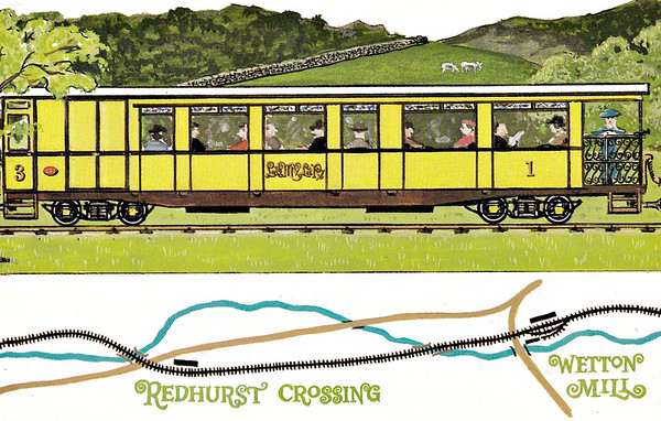 LEEK & MANIFOLD VALLEY LIGHT RAILWAY - Dalkeith Card No.76 (4/6) - One of the line's four coaches, two composite brakes and two thirds, in their original yellow livery, later changed to maroon, at Thor's Cave and Wetton Station on a train that comprises almost the entire stock of the railway (as you will discover)