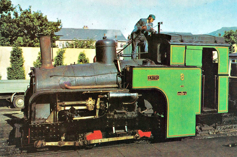 SNOWDON MOUNTAIN RAILWAY -  No.8 ERYRI - 0-4-2T - 800mm - built 1923 by Swiss Locomotive and Machine Works, Winterthur - withdrawn, dismantled and store off site - unlikely to return to service - seen here when fitted for oil burning, topping up the rooftop fuel tank.
