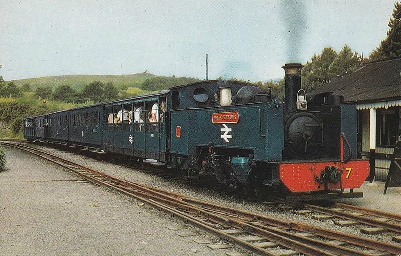 VALE OF RHEIDOL RAILWAY - No.7 OWAIN GLYNDWR - Collett GWR 2-6-2T - 603mm - built 1923 by Swindon Works - still in operation - seen here at Devils Bridge in 1970's.