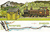 LEEK & MANIFOLD VALLEY LIGHT RAILWAY - Dalkeith Card No.73 (1/6) - No.1 ER CALTHROP at Thor's Cave and Wetton Station on a train that comprises almost the entire stock of the railway (as you will discover)