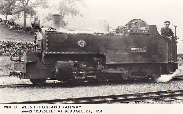 WELSH HIGHLAND RAILWAY - RUSSELL - 2-6-2T built 1906 by Hunslet Engine Co. for the Portmadoc, Beddgelert & South Snowdon Railway - 1922 acquired by Welsh Highland Railway - 1937 withdrawn when line closed - 1942 requisitioned by WD to opencast ironstone site near Hook Norton, Oxfordshire - 1945 to Norden Clay Mines, Corfe - prone to derailment on poor track - after severe axle damage in 1953, laid up - bought for £70 and sent to Talyllyn Railway - currently undergoing restoration - seen here at Beddgelert in 1934.