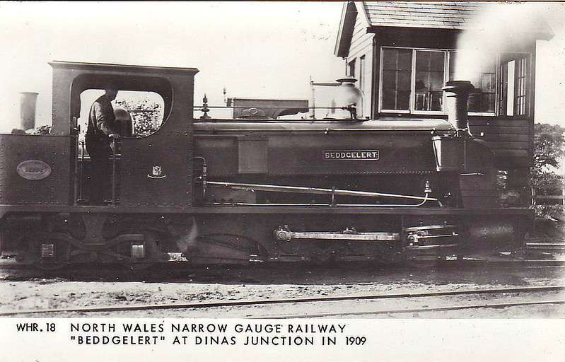 NORTH WALES NARROW GAUGE RAILWAY - BEDDGELERT - 0-6-4T - 597mm - built 1878 by Hunslet Engine Co., Works No.206  - mostly used on the Bryngwyn branch - 1906 withdrawn - seen here at Dinas Junction in 1909 (?).