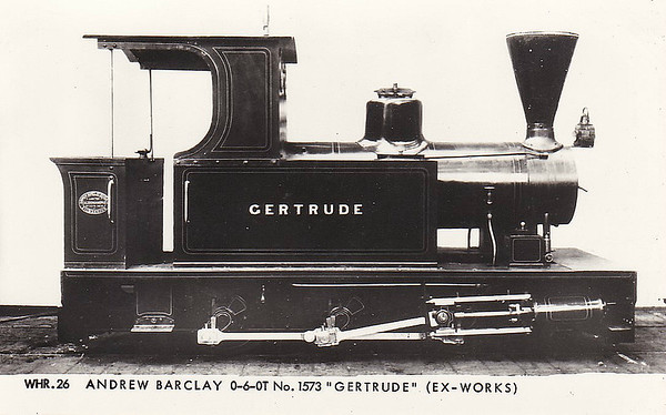 WELSH HIGHLAND RAILWAY - GERTRUDE - 0-6-0T - built 1918 by Andrew Barclay & Sons, Works No.1578, for Sydenham Ironstone Quarry, Oxfordshire - 1925 to Bilston Quarries - 1959 withdrawn - preserved - 2010 to WHR - operational - seen here as built.