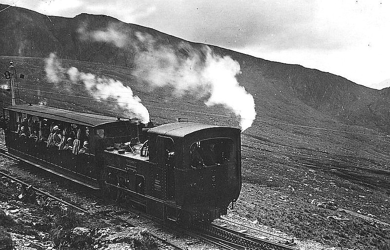 SNOWDON MOUNTAIN RAILWAY - 3 WYDDFA - 0-4-2T built in 1895 by Swiss Locomotive and Machine Works, Winterthur - still in operation - seen here coasting downgrade in the 1930's.