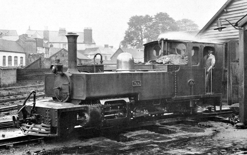 LYNTON & BARNSTAPLE RAILWAY -No.759 YEO was one of three identical 2-6-2T locomotives originally built for the railway by Manning Wardle of Leeds in 1897. For the first 27 years or so, the livery of these engines was darkish green, but after 1923 the Southern Railway began to repaint them in their lighter olive green with yellow lettering/numbers and white lining - seen here on Pilton Depot, Barnstaple.