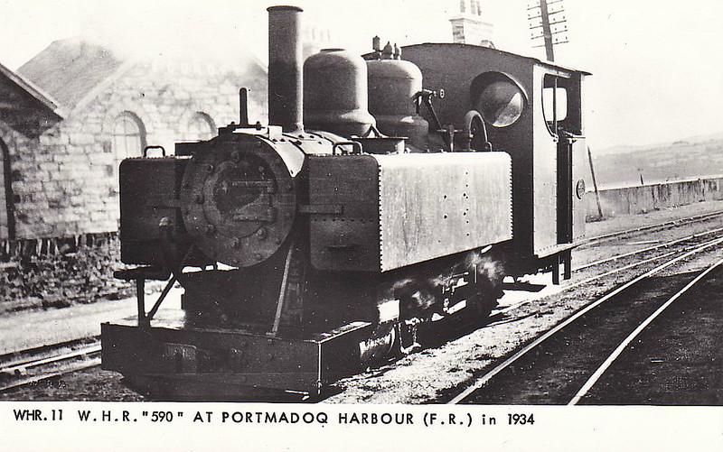 WELSH HIGHLAND RAILWAY - 590 - 4-6-0T built 1917 by Baldwin Locomotive Works for War Department - 1923 acquired by Colonel Stephens for the Welsh Highland Railway - 1937 withdrawn when line closed, broken up during World War 2 - seen here at Portmadoc in 1934.