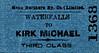 MANX NORTHERN RAILWAY TICKET - WATERFALLS - Third Class Single to Kirk Michael.