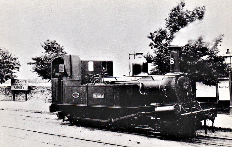 ISLE OF MAN RAILWAY - No.8 FENELLA - 2-4-0T - built 1894 by Beyer Peacock Ltd - operational since 2012 - seen here at St Johns in 1932.
