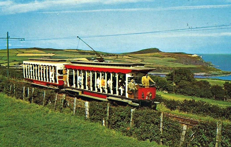 MANX ELECTRIC RAILWAY - No.26 - one of four 'paddlebox' cars on the line, so called because of the steeped footboards required to clear the protruding bogies.