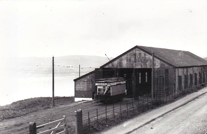 DOUGLAS HEAD MARINE DRIVE TRAMWAY - No.6 - 4-wheeled double-deck 'toast rack' type tramcar - built 1896 - 1939 withdrawn when line closed - note side curtains for use in bad weather - seen here at Little Ness Depot.