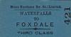 MANX NORTHERN RAILWAY TICKET - WATERFALLS - Third Class Single to Foxdale.