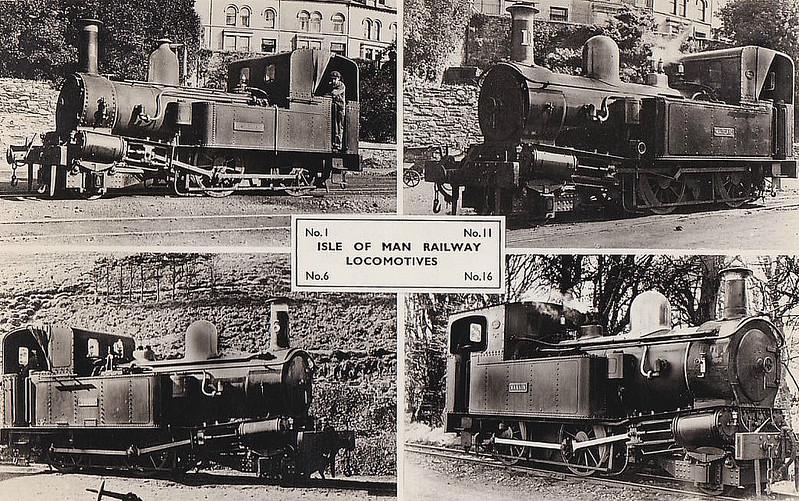ISLE OF MAN RAILWAY - LOCOMOTIVES:<br /> No.1 SUTHERLAND, built 1873.<br /> No.6 PEVERIL, built 1875.<br /> No.11 MAITLAND, built 1905.<br /> No.16 MANNIN, built 1926.