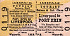 ISLE OF MAN RAILWAY/ISLE OF MAM STEAM PACKET CO. TICKET - LIVERPOOL - Combined Steamer/Train Ticket - Saloon/First Class Three Monthly Return to Port Erin.