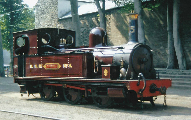 ISLE OF MAN RAILWAY - No.15 CALEDONIA - 0-6-0T built 1885 by Dubs & Co. as Manx Northern Railway No.4 - 1905 to IOMR and to No.15 - only used sporadically - 1967 withdrawn - operational but currently undergoing overhaul - seen here at Laxey in 1995.
