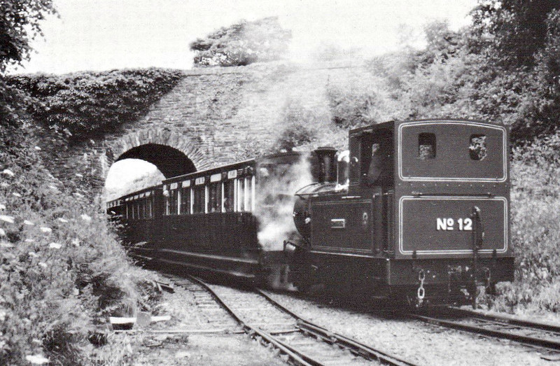 ISLE OF MAN RAILWAY - No.12 HUTCHINSON - 2-4-0T - built 1908 by Beyer Peacock Ltd - operational - 1981 rebuilt with larger tanks and square cab - 2009 restored to original condition - seen here at Santon Road bridge with a Douglas train, 07/93.