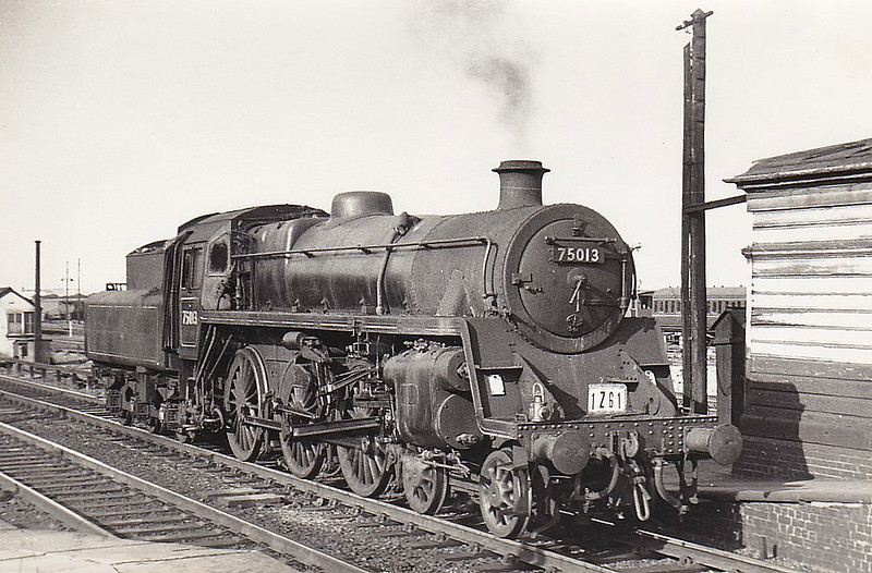 75013 - Riddles BR Class 4 4-6-0 - built 11/51 by Swindon Works - 08/67 withdrawn from 5D Stoke - seen here at Bletchley, having just worked a special, 09/63.