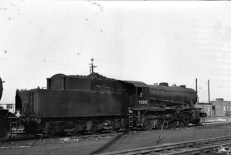 90001 - WD Class 8F 2-8-0 - built 02/43 by North British Loco Co. as WD No.7002 - 01/45 to WD No.77002, 02/47 to LNER No.3001, 04/48 to BR No.63001, 04/49 to BR No.90001 - 04/66 withdrawn from 36A Doncaster.