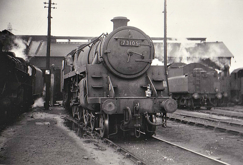 73105 - Riddles BR Class 5 4-6-0 - built 12/55 by Doncaster Works - 09/66 withdrawn from 67A Corkerhill - seen here at Grangemouth, 07/65.