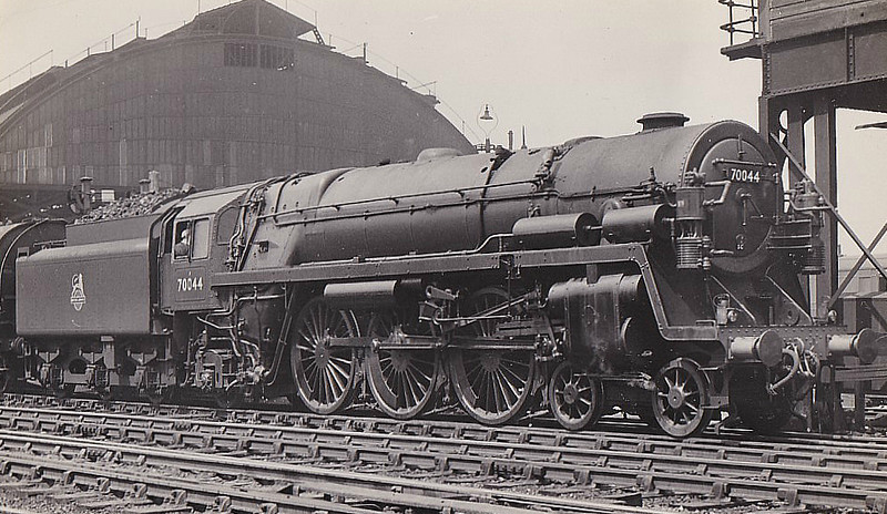 70044 EARL HAIG -  Riddles BR Class 7 Britannia 4-6-2 - built 06/53 by Crewe Works - 10/66 withdrawn from 9B Stockport Edgeley - seen here at Manchester London Road, 06/53, 1953 - seen here with twin Westinghouse brake pumps, no nameplates and no smoke deflectors. The brake pumps were used in tests for comparing air brake and vacuum brake. They mainly worked on lengthy mineral trains between Toton and Brent. This was part of an exercise to decide on the type of brake for future use.