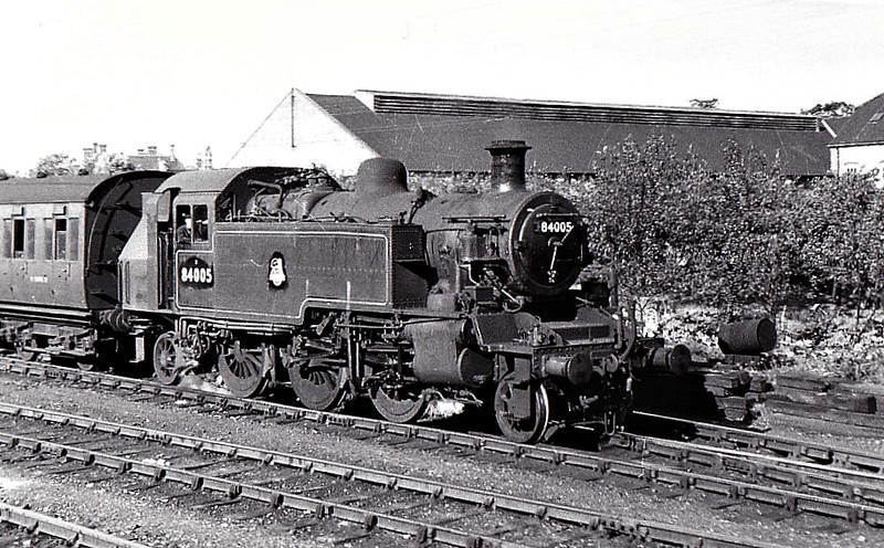 84005 - Riddles BR Class 2 -2-6-2T - built 08/53 by Crewe Works - 10/65 withdrawn from 15A Leicester Midland - seen here at Bedford 09/55.