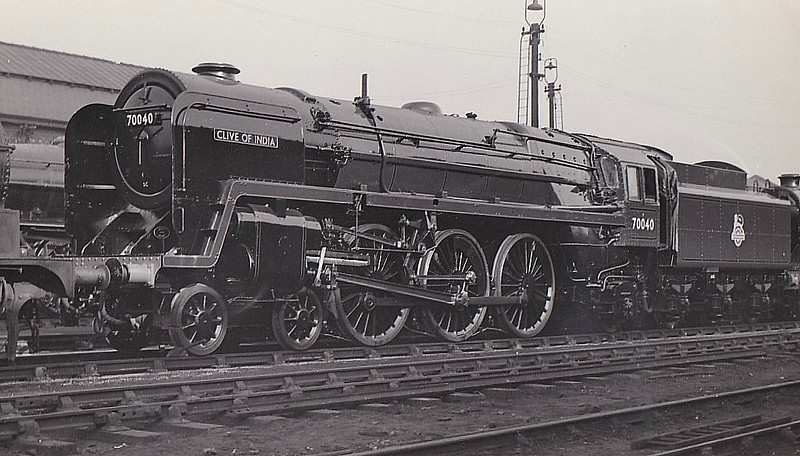 70040 CLIVE OF INDIA - Riddles BR Class 7 Britannia 4-6-2 - built 03/53 by Crewe Works - 04/67 withdrawn from 12A Carlisle Kingmoor - seen here at Crewe Works wen brand new.