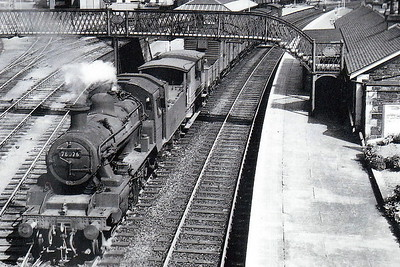 78026 - Riddles BR Class 2MT 2-6-0 - built 06/54 by Darlington Works - 08/66 withdrawn from 67A Corkerhill - seen here at Newton Stewart on a pick-up goods.