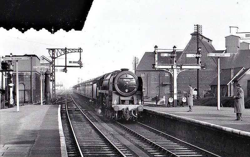 70036 BOADICEA - Riddles BR Class 7 Britannia 4-6-2 - built 12/52 by Crewe Works - 10/66 withdrawn from 12A Carlisle Kingmoor - seen here at Witham, 11/59.