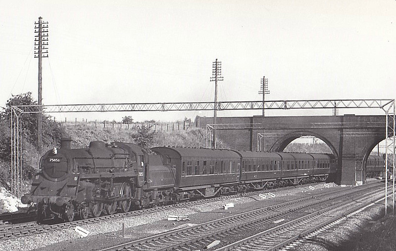 75056 - Riddles BR Class 4 4-6-0 - built 03/57 by Swindon Works - 06/66 withdrawn from 5D Stoke - seen here at Ashton, 08/63.