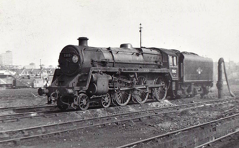 73112 MORGAN LE FAY - Riddles BR Class 5  4-6-0 - built 10/56 by Doncaster Works - 06/65 withdrawn from 70A Nine Elms, where seen.