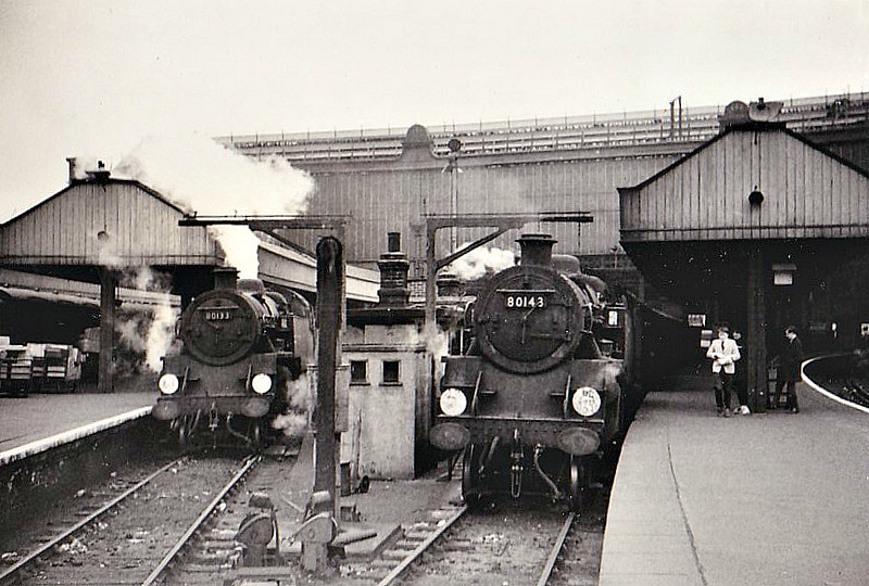 80145 - Riddles BR Class 4 2-6-4T - built 10/56 by Brighton Works - 06/67 withdrawn from 70A Nine Elms - seen here with 80133 at Waterloo on ECS duties, 05/66.
