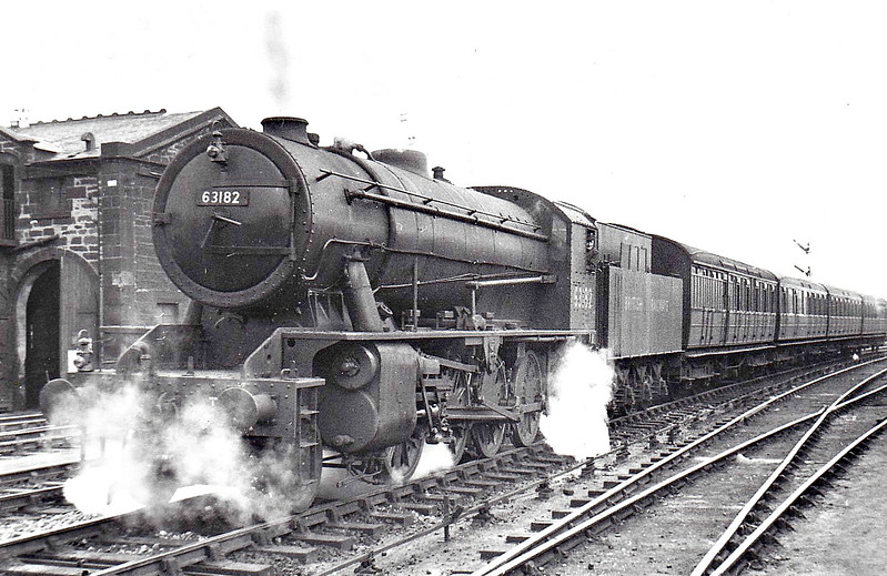 63182 - WD Class 8F 2-8-0 - built 09/44 by Vulcan Foundry as WD No.79185 - 02/47 to LNER No.3182, 07/48 to BR No.63182, 11/50 to BR No.90503 - 01/67 withdrawn from 55E Normanton - seen here passing St Margarets MPD on a local passenger working, 08/48.