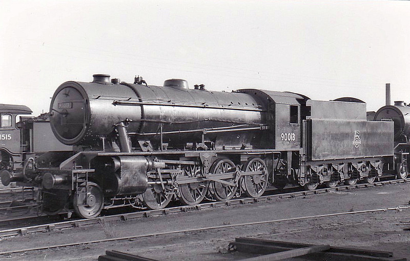 90013 - WD Class 8F 2-8-0 - built 03/43 by North British Loco Co. as WD No.7015 - 01/45 to WD No.77015, 02/52 to BR No.90013 - 09/66 withdrawn from 56A Wakefield - seen here at Stratford.