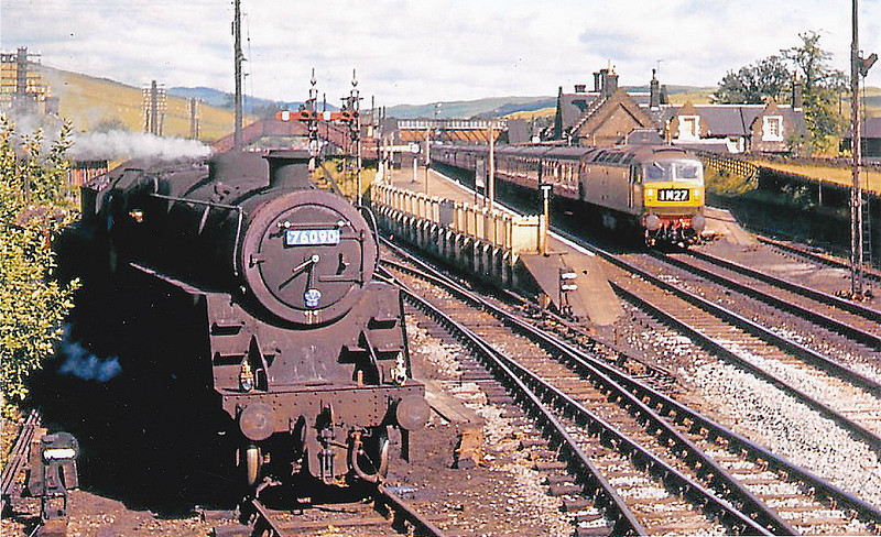 76090 - Riddles BR Class 3 2-6-0 - built 06/57 by Horwich Works - 12/66 withdrawn from 68D Beattock, where seen on banking duties.