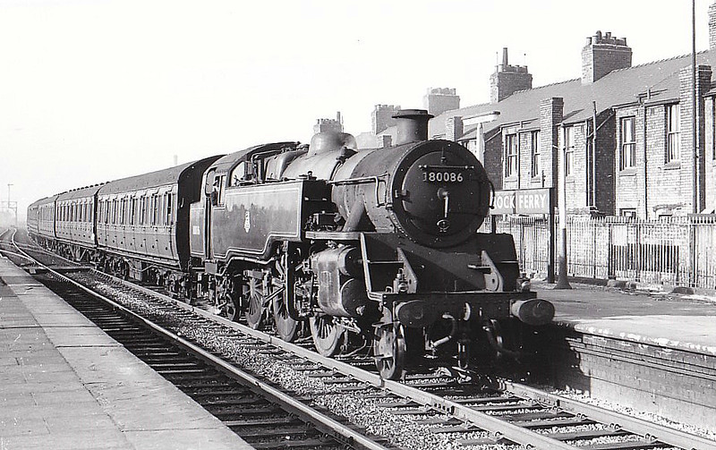 80086 - Riddles BR Class 4 2-6-4T - built 06/54 by Brighton Works - 05/67 withdrawn from 66A Polmadie - seen here at Rock Ferry, 04/58.