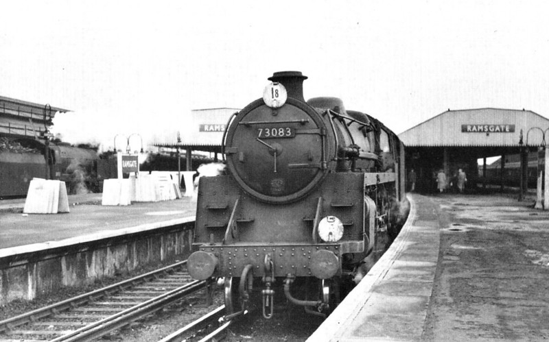 73083 PENDRAGON - Riddles BR Class 5 4-6-0 - built 07/55 by Derby Works - 09/66 withdrawn from 70G Weymouth - seen here at Ramsgate, 12/58.