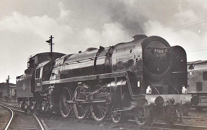 70013 OLIVER CROMWELL - Riddles BR Class 7 Britannia 4-6-2 - built 05/51 by Crewe Works - 08/68 withdrawn from 10A Carnforth, where seen 10/64 - last steam loco to be overhauled by BR - preserved.
