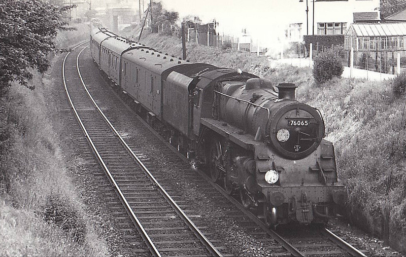 76065 - Riddles BR Class 3 2-6-0 - built 07/56 by Doncaster Works - 10/65 withdrawn from 71A Eastleigh - seen here at Boscombe, 05/61.