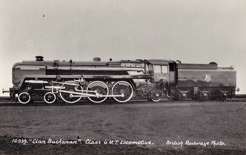 72002 CLAN BUCHANAN - Riddles BR Clan Class 4-6-2 - built 01/52 by Crewe Works - 12/62 withdrawn from 66A Polmadie.