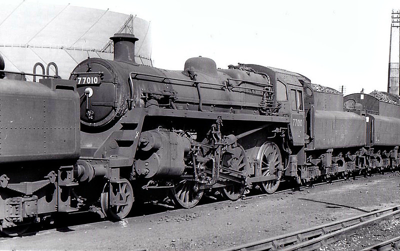 77010 - Riddles BR Class 3MT 2-6-0 - built 06/54 by Swindon Works - 11/65 withdrawn from 55B Stourton - seen here at West Auckland, 08/63.