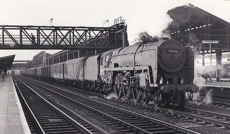 70046 ANZAC - Riddles BR Class 7 Britannia 4-6-2 - built 06/54 by Crewe Works - 07/67 withdrawn from 12A Carlisle Kingmoor - seen here at Chester, 02/64.