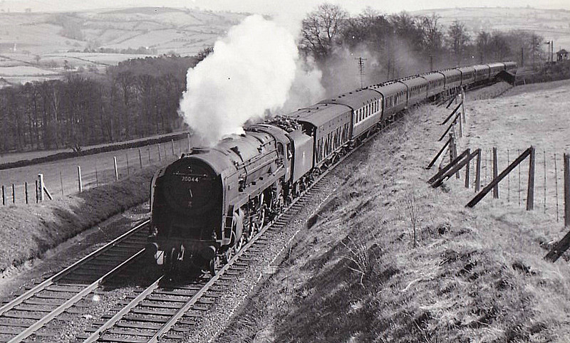 70044 EARL HAIG -  Riddles BR Class 7 Britannia 4-6-2 - built 06/53 by Crewe Works - 10/66 withdrawn from 9B Stockport Edgeley - seen here at Low House on a Leeds - Glasgow express, 04/60.