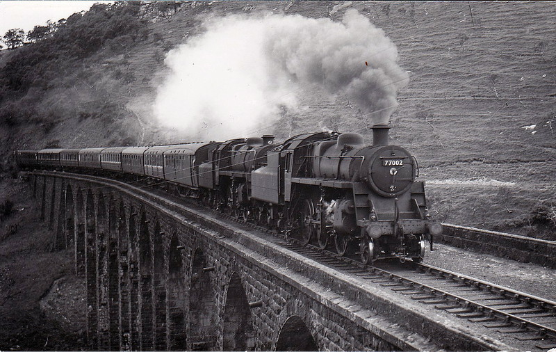 77002 - Riddles BR Class 3 2-6-0 - built 03/54 by Swindon Works - 06/67 withdrawn from 50A York North - seen here crossing the River Lune near Smardale on a Newcastle - Blackpool train.