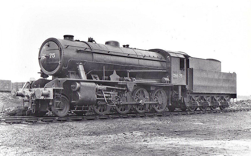 78675 -  WD Class 8F 2-8-0 - built 06/44 by Vulcan Foundry as WD No.8675 - 01/45 to WD No.78675, 09/49 to BR No.90644 - 06/67 withdrawn from 55E Normanton - seen here at Stratford, 03/48.