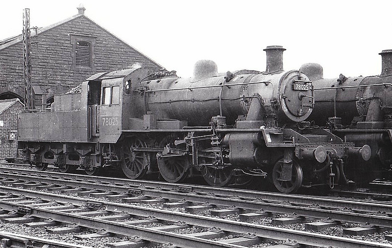 78025 - Riddles BR Class 2MT 2-6-0 - built 06/54 by Darlington Works - 02/65 withdrawn from 9G Gorton - seen here at Tweedmouth, 08/64.