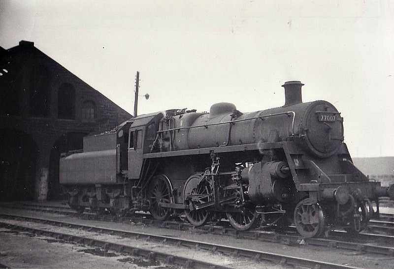 77007 - Riddles BR Class 3 2-6-0 - built 03/54 by Swindon Works - 11/66 withdrawn from 67B Hurlford, where seen 04/65.