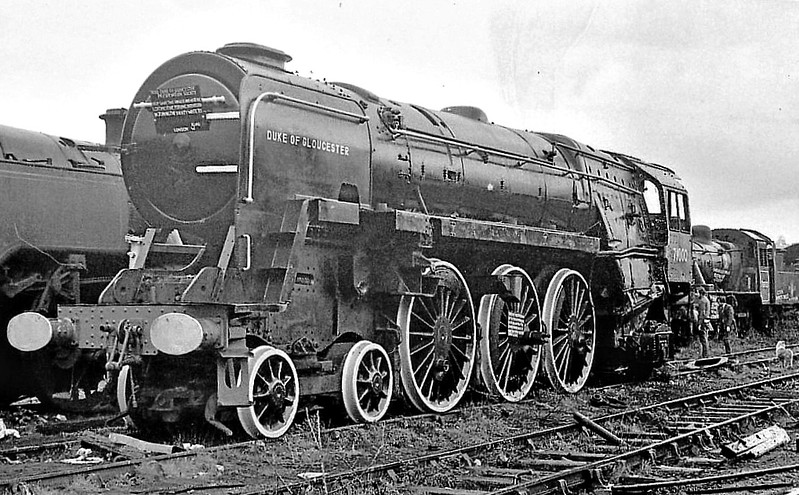 71000 DUKE OF GLOUCESTER - Riddles BR Class 8 'Duke of Gloucester' 4-6-2 - built 05/54 by Crewe Works - 11/62 withdrawn from 5A Crewe North - seen here in Woodhams Scrapyard after being rescued.
