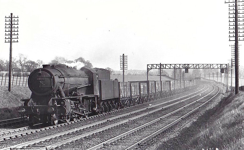 90051 - WD Class 8F 2-8-0 - built 04/44 by North British Loco Co. as WD No.821 - 01/45 to WD No.70821, 02/47 to LNER No.3051, 04/48 to BR No.63051, 04/49 to BR No.90051 - 10/65 withdrawn from 40E Colwick.